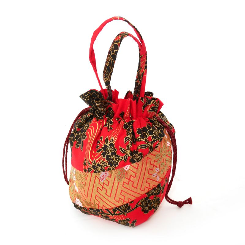 Japanese traditional red polyester cotton kimono style pouch