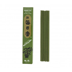 Box of 50 Japanese incense sticks, MORNING STAR, green tea