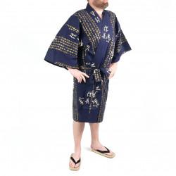 Happi traditional japanese blue kimono in cotton general kanji hideyoshi for men