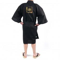 Happi kimono noir kanji or samuraï coton shantung japonais pour homme