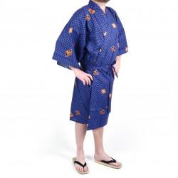 Happi kimono traditionnel japonais bleu en coton motifs diamant et kanji pour homme