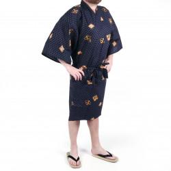 Happi kimono traditionnel japonais noir en coton motifs diamant et kanji pour homme
