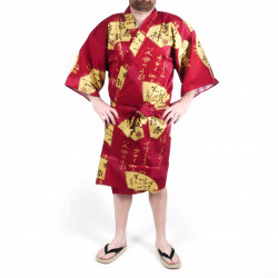 Japanese red cotton happi coat kimono SENSU, golden fan, for men