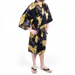 Japanese black cotton happi coat kimono SENSU, golden fan, for men