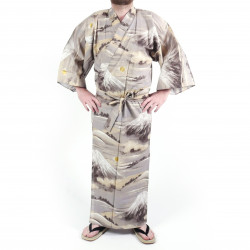 Japanese traditional grey cotton yukata kimono, mount FUJI, for men