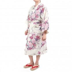 happi kimono giapponese bianco felicei in cotone, TSURU PEONY, gru e peonia