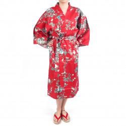 happi kimono giapponese rosso felice, SAKURA PEONY, peonia e fiori di ciliegio