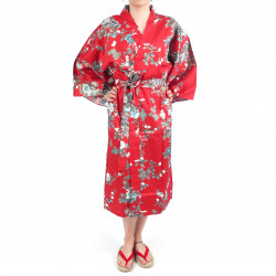 Japanese traditional red cotton sateen happi coat kimono peony and cherry blossom for ladies