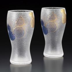 set of 2 japanese beer glasses PREMIUM MUBYOUTAN