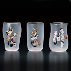 Japanese three glasses set with cats patterns NAMAZU EDONEKO