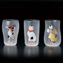 Japanese three glasses set with cats patterns NEKO EDONEKO