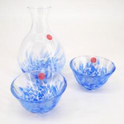 Japanese glass sake service 2 glasses and 1 bottle IWASHIMIZU