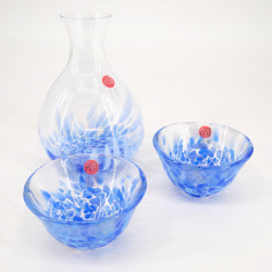 service japonais à saké en verre 2 verres et 1 bouteille IWASHIMIZU