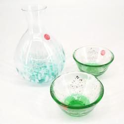 Japanese glass sake service 2 glasses and 1 bottle MIZUBASHOU YUUSUZUMI