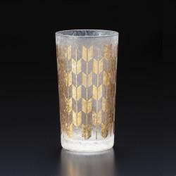 Japanese glass with yagasuri pattern - WAKOMON