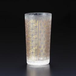 Japanese glass with kisshoutsunagi pattern - WAKOMON