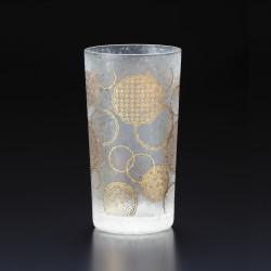Japanese glass with yukiwa pattern - WAKOMON