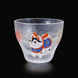 Japanese sake glass with dog motif - GARASU INU