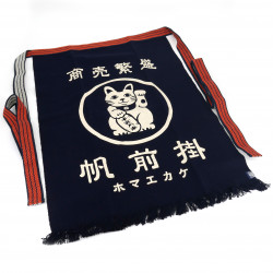 Traditional Japanese cotton apron Manekineko, MAEKAKE LUCKYCAT