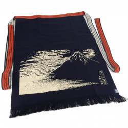 Traditional Japanese cotton apron Red Mt.Fuji, MAEKAKE UKIYOE HOKUSAI