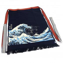 Traditional Japanese cotton apron Great Wave, MAEKAKE UKIYOE HOKUSAI