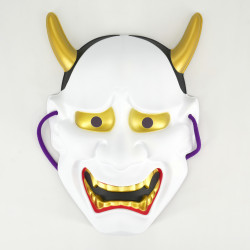 white japanese nô mask vengeful demon HANNYA