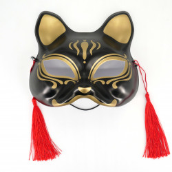 Maschera giapponese per gatti neri e dorati - NEKOMASUKU