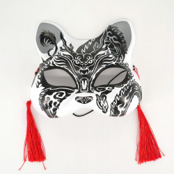 Maschera giapponese per gatti in bianco e nero - NEKOMASUKU