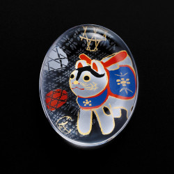 Japanese glass chopsticks with dog motif - SUTIKKURESUTO