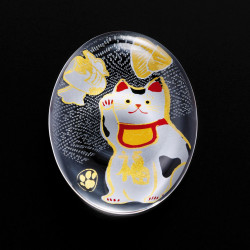 Japanese glass chopsticks with manekineko motif - SUTIKKURESUTO