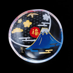small Japanese mamesara glass plate with Mt.Fuji motif - MAMESARA
