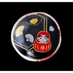 small Japanese mamesara glass plate with daruma motif - MAMESARA