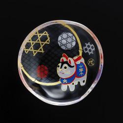small Japanese mamesara glass plate with dog motif - MAMESARA