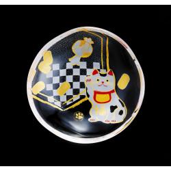 piccola lastra di vetro giapponese mamesara con motivo manekineko - MAMESARA