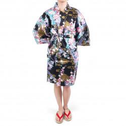 Kimono nero tradizionale giapponese hanten in raso di cotone per donna