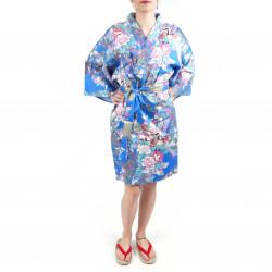 Kimono tradizionale giapponese blu hanten in raso di cotone piccola principessa da donna