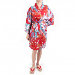 hanten traditional japanese red kimono in satin cotton little princess for women