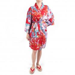 Kimono hanten tradizionale giapponese rosso in raso di cotone per principessa da donna