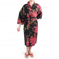 Kimono Happi tradizionale giapponese in cotone nero e peonia per donna