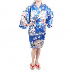 Kimono tradizionale giapponese blu hanten in dinastia poliestere sotto il fiore di ciliegio per donna