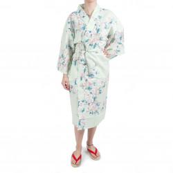 Happi kimono tradizionale in cotone turchese giapponese fiori di ciliegio bianchi per donna