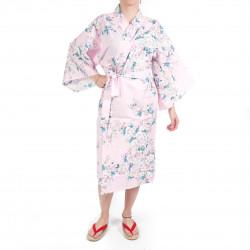 Happi Kimono tradizionale giapponese in cotone rosa con fiori di ciliegio bianchi per donna
