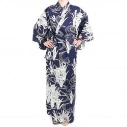Japanese traditional blue cotton yukata kimono in iris and river for women