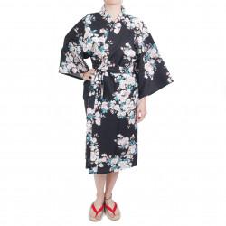 Happi kimono tradizionale giapponese in cotone nero con fiori di ciliegio bianco per donna