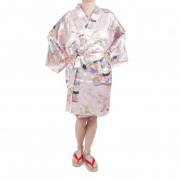 Kimono hanten tradizionale giapponese rosa in dinastia poliestere sotto il fiore di ciliegio per donna