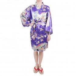 Kimono hanten tradizionale giapponese viola in dinastia poliestere sotto il fiore di ciliegio per donna
