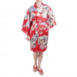 Kimono hanten tradizionale giapponese rosso in dinastia poliestere sotto i fiori di ciliegio per donna