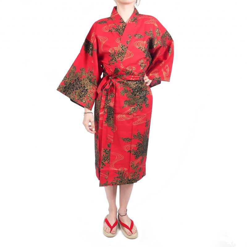 happi traditional Japanese red cotton peony and river kimono for women