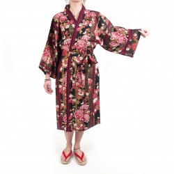 happi traditional Japanese black cotton kimono floral chrysanthemums for women