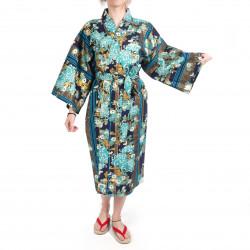 crisantemi floreali tradizionali kimono in cotone blu giapponese di Happi per donna